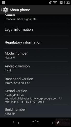 Android 4.4.4 for Google Nexus devices